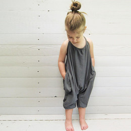 Wholesale Branded Clothing For Kids - Girls Kids Onesies Rompers Jumpsuits Overalls for Children Baby Cotton Backless Rompers Jumpsuits One Piece Grey Suspender Overalls Clothes