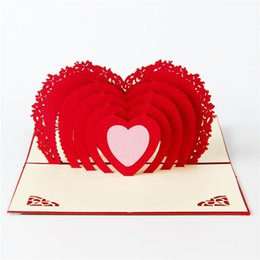 Wholesale Card Cut Out - 10pcs lot Laser Cut Wedding Invitations 3D Hallow Out Loving Heart Valentine's Greeting Cards