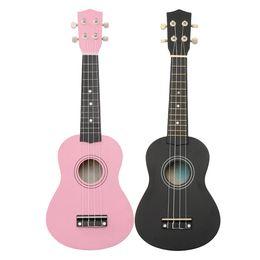 """Wholesale Acoustic Pink - 21"""" Black Pink Maple Basswood Soprano Ukulele Uke Nylon 4 Strings 12 Fret Acoustic Bass Guitarra Guitar Musical Instrument"""