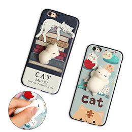 Wholesale Cute Mobile Cases - For i6 i6s i7 i7+ Funny Cute Cat Squishy Mobile Phone Case For iphone 6 6plus 5 Squishy Case Soft Housing Case Kneaded Cover