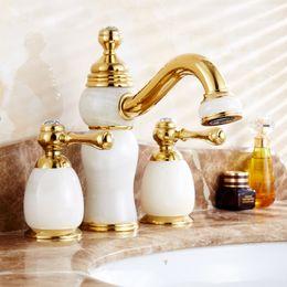 Wholesale Golden European Handles - European Golden Color Basin Faucet Jade Crystal Faucets Handles Mixer Gold Basin Taps Cold & Hot 360 Degree Rotation Water Tap