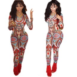 Wholesale Long Sleeve Body Shirt - Rompers Womens Casual Print Flora Jumpsuits Tight Body New for Women Autumn Sexy Women Slim Long Sleeve Skinny Shirt Wish Sashes