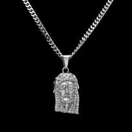 Wholesale Jesus Christ Necklace - HipHop Silver JESUS Christ Piece Head Face Pendant Necklace Charm Chain For Men and Women Trendy Holiday Accessories