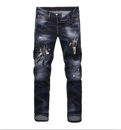 Wholesale French Style Fashion - 2018 French fashion Pierre straight jeans, men's jeans, stretch jeans, casual bike holes, men's tight pants, elastic pants #13327