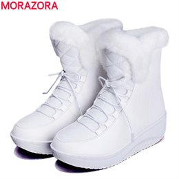 Wholesale Thick Snow Shoes - Wholesale-MORAZORA 2017 new Russia winter snow boots thick fur inside platform shoes woman wedges heel women ankle boots female shoes