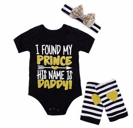 """Wholesale Name Brands Clothing Wholesale - Baby Girls Romper Summer Cute Short Sleeve Newborn Jumpsuit """"I Found My Prince His Name Is Daddy"""" Letter print childing Clothes 0-2years"""