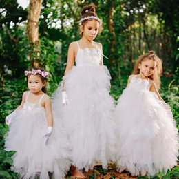 Wholesale White Red Wedding Frocks - Wedding Flower Girls Dresses Ball Gown Girls Frock Soft Tulle Ruffles Dress Feathers and Handmade Flower Girl Special Occasion Dresses 2017