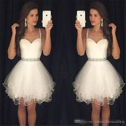 Wholesale White One Sleeve Homecoming Dress - Cheap Little White Ivory Homecoming Dresses 2017 Plus Size Spaghetti Short Prom Party Gown Beaded Sash Juniors Bridesmaid Cocktail Wear