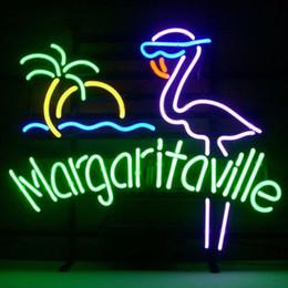 """Luz de néon arte on-line-17 """"x14"""" Margaritaville Flamingo Artesanal Tubo De Vidro Real Cerveja Bar Em Casa Sinal de Néon Luz Arte Decoração"""