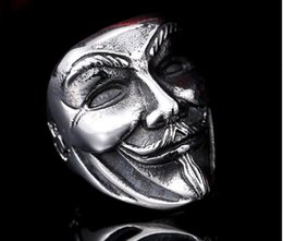Wholesale Wholesale Guys Jewelry - new design Guy Fawkes Mask film style ring stainless steel V for vendetta trendy men mask jewelry