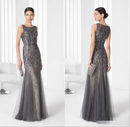 Wholesale Silver Grey Mermaid Dresses - 2016 Grey Vintage Long Mother of the Bride Dresses Lace Beading Mermaid Jewel Sleeveless Wedding Party Mother Gowns Luxury Evening Dresses