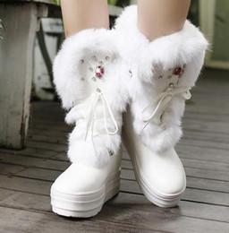2019 botas planas de piel de invierno Invierno recreación Rhinestone PU Realmente cómodo y cálido piel de conejo con cordones transpirable punta redonda plana Mujeres Botas botas planas de piel de invierno baratos