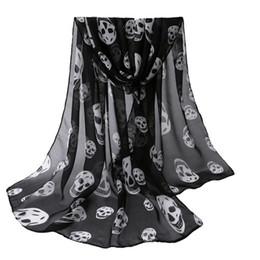 Wholesale skull womens - Wholesale-Autumn Womens Scarf Girls Skulls Printed Black Long Soft Scarf Shawl Girls Neck Scarf