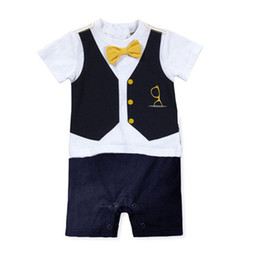 Wholesale Baby Romper Suit Tie - Wholesale- Fashion Baby Boy Formal Party Bow Tie Printed Suit Romper Jumpsuit Outfit Clothes Sets