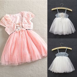 Wholesale Shawls Dress 2pcs - Wholesale- Hot Sell 1-5Y Toddler Girls 2pcs Lace Shawl Straps Tutu Dress Princess Dress