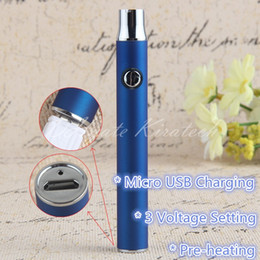 Wholesale Ecig Sets - 350mah Pre-heating Vaporizer Battery Vape Ecig 3 Voltage Setting Vaping Pen 510 Thread E Cigarette Come With Micro USB Charger Wholesale AA