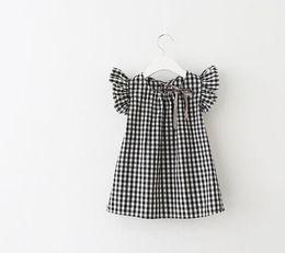 Wholesale Girls Tartan Dresses - Girl's plait tartan dress cheap Children's grid sleeve dress a girl doll unlined upper garment