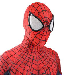 Wholesale Spiderman Adult - Halloween adult marvel lycra The Amazing Spiderman Costume Cosplay mask lens 3D Printing