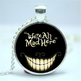 Wholesale American Version - 10pcs lot We Are all Mad here, Alice in Wonderland Necklace Glass Cabochon Necklace version 2