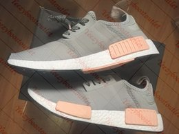 Wholesale Body Spikes - Women Vapor Grey Pink R1 NMD Running Boost Ladies Primeknit Sneaker Shoes 36-39 With Box