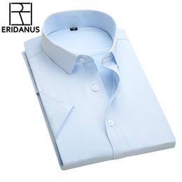 Wholesale Designer Formal Men Shirts - Wholesale- Men Business Shirt 2016 Summer New Simple Designer High Quality Solid Male Short Sleeve Slim Fit Formal Dress Shirts 4XL M079