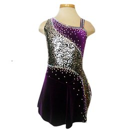 Wholesale Ice Skating Beads - Korean Velour Guled Beads Fashion Ice Skating Dress Above Knee Length Attractive Wholesale Price