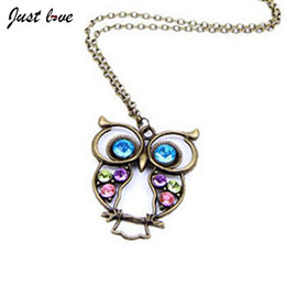 Wholesale High Quality Owl Pendant - Wholesale-2016 New Fashion Hot Selling Necklaces Fashion Lovely High Quality Necklace Vintage Colorful Cute OWL Necklace Cheap Fewelry