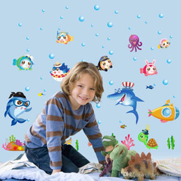 Wholesale Nursery Wall Stickers Fish - Wall Stickers Cute Cartoon Animal Underwater World Colorful Fish PVC Decal Kid Room Nursery School Decor 2 5jz J R