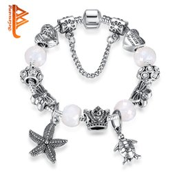 Wholesale Ocean Heart Jewelry Sets - BELAWANG Fashion Silver Jewelry Ocean Tortoise&Starfish Pendant Charms Bracelets&Bangles Heart CZ Beads Bracelets with Link for Women Gift