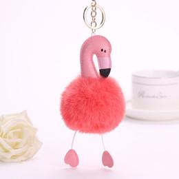pele de coelho falso Desconto DHL LIVRE 2017 Fur Pom Flamingo Keychain 8 centímetros Fake Rabbit Flamingo Fur Ball Chain Pompom Bag Car Charms Flamingo chaveiro Key rings