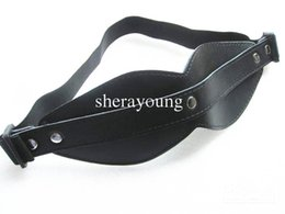 Wholesale Leather Eye Mask Adult - Black Guniune Leather Eye Mask Blindfold Bondage Gear Games Bitch Adult Sex Toys for women XLY454