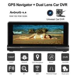 Wholesale Android Gps Navigation Car System - 7 inch Car GPS Navigation With Car DVR 1080P Camera Dash Cam Recorder Android System Bluetooth Wifi FM 16GB US EU AU Map