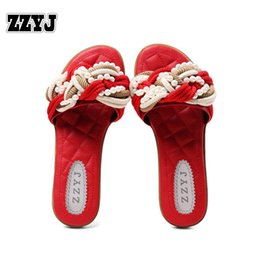 Wholesale Women Beach Shoes Design - ZZYJ new arrival large size women fashion slippers latest design hemp rope bead flat Casual slippers sandals Female shoes C8424