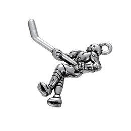 Wholesale Ice Circles - Hot Fashionable Antique Silver Sports Ice Hockey Player DIY Pendants For Necklace&Bracelet