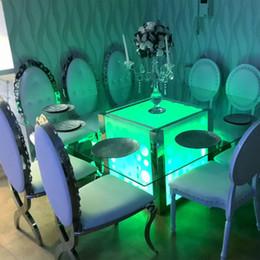 Круглый стол онлайн-LED Коктейль настольный светильник аккумуляторная лампа с дистанционным управлением для украшения свадебной вечеринки 8inch Round Base