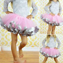 Wholesale Chiffon Ruffle Trim Wholesale - Fashion girl Casual dress Little Baby Girl Tutu Skirt With Satin Ribbon Trim Sewn Puffy Baby Tutu Princess Skirt for 0-7 years old