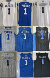 Wholesale Embroidery Basketball Jersey - Duke Blue Devils College Jerseys 1 Kyrie Irving 1 Harry Giles 1 Jabari Parker Basketball Jerseys Blue White Alternate Embroidery Quality