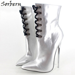"""grey silver high heels NZ - 7"""" Extreme High Heel Boots Matte Silver Ankle Boots Metal Thin Heels Lace-Up Unisex Fetish Sexy Pointed Toe Pu Leather Women Martin Shoes"""
