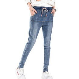Wholesale Women Harem Brand Jeans - Wholesale- New brand Woman denim harem pants female casual slim jeans women's elastic mid waist fashion cotton jeans plus size HS1597