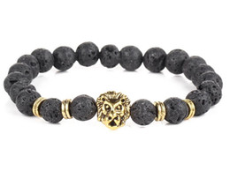 Wholesale Shiny Black Stone - The explosion of natural stone grinding pressure of shiny black volcano stone hand string round beads lion bracelet jewelry wholesale