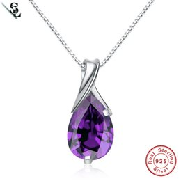 Wholesale Pear Pendant Necklace - 2017 crystal drops purple pear 3.82g natural amethyst necklace pendant authentic 925 sterling silver fine jewelry for women jewellery