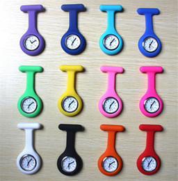 Wholesale Pin Medical - Nurse Medical Silicon Silicone Watch Clip Pocket Watches With Pin Doctor Watch Brooch Fob Tunic Pocket Watch Silicone Cover Nurse Watches