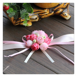 Wholesale Prom Flower Bouquets - Hot New 2016 Wedding Bouquets Bridesmaid Bride Wedding Supplies Wrist Corsage Party Prom Ribbon Hand Flower Decor Wedding Party Gift