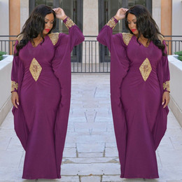 Wholesale Indian Lady Dress - Purple Long sleeve Evening Dresses Kaftan Abaya Middle East Saudi Arabia Indian Lady elegant Prom Dresses With Golden Appliques plus size