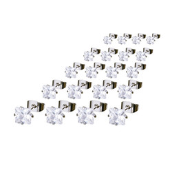 Wholesale Ear Cartilage Studs - 5 Pairs Ear Cartilage Helix Piercing Earrings Stainless Steel Square Cubic Zirconia Inlaid Men Women Stud Earrings 4-8mm h5