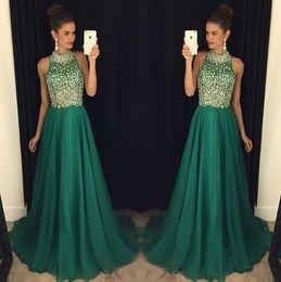 Wholesale evening dresses crystal stones - 2017 Elegant Dark Green Chiffon Long Prom Dresses Sheer Beaded Stones Top Floor Length Party Evening Dresses