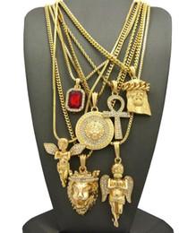 Wholesale Lion Rhinestone Jewelry - Men's Hip Hop Ruby, 2 Angels, Jesus, Lion, MADUSA, Ankh Pendant 7 Necklace Set jewelry
