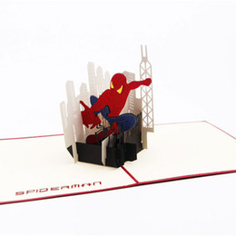 Wholesale Envelopes For Greeting Cards - Birthday Gift 3D Greeting Cards with Envelope Pop Up Greeting Card Handmade Spider-man Gift Card for Boy