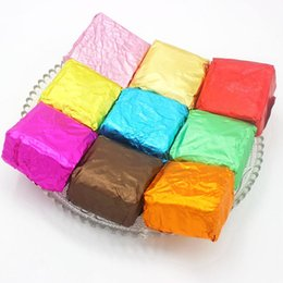 Wholesale Chocolate Foil Paper - Free Shipping New Style Chocolate Package Tin Foil Baking Paper Thickening 9 Colours Candy Sugar Tea Wrapping Paper Decoration 12*12cm