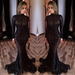 Camicia da donna sirena online-Michael Costello Mermaid Prom Dresses 2017 Elegante donna nera lungo collo alto abiti da cerimonia trasparenti Abiti da sera BA2412